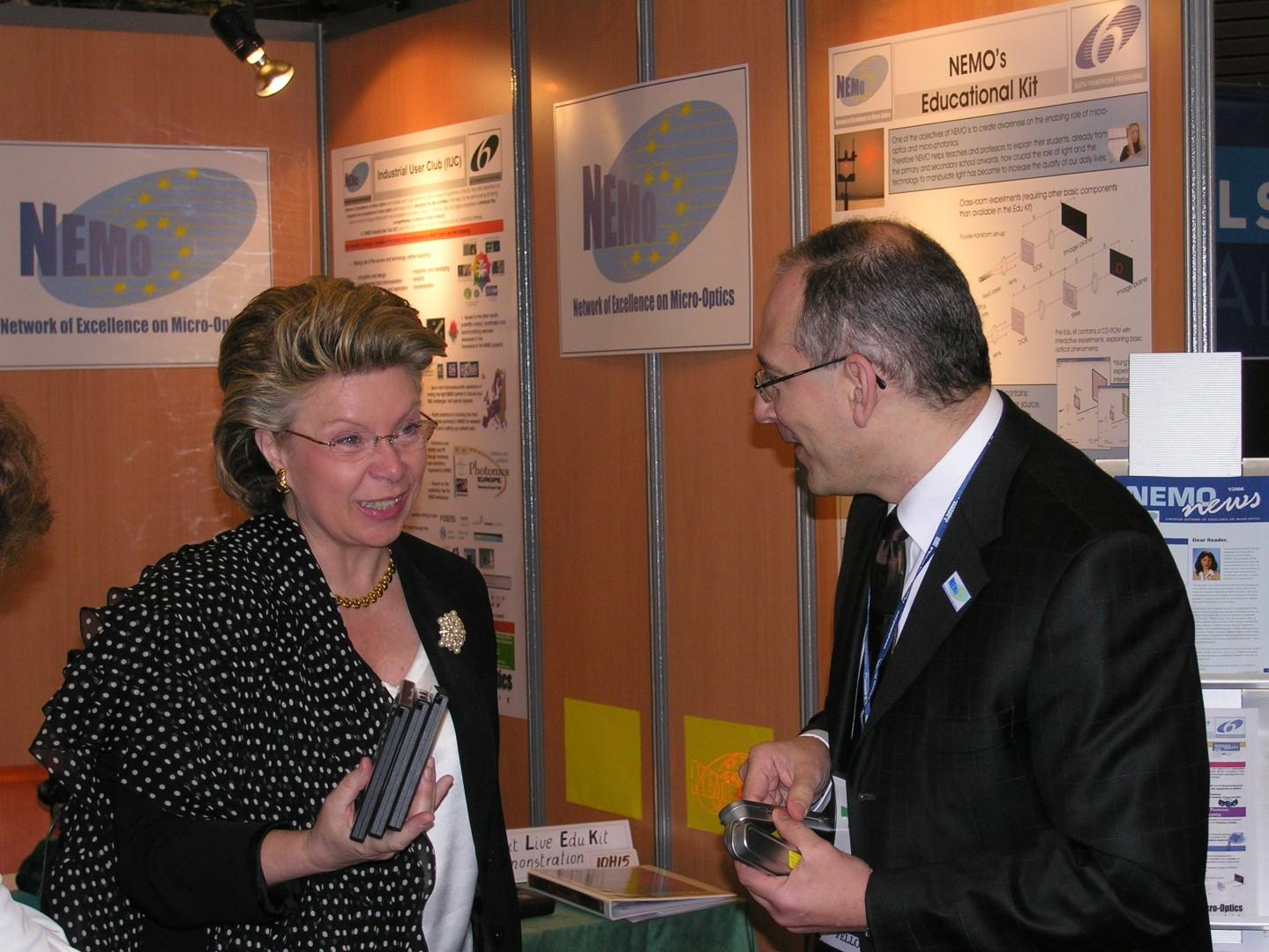 Viviane Reding at NEMO booth Large